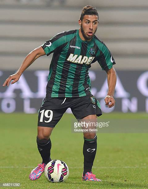 Saphir Taider of Sassuolo in action during the Serie A match between US Sassuolo Calcio and Empoli FC at Mapei Stadium on October 28 2014 in Reggio...
