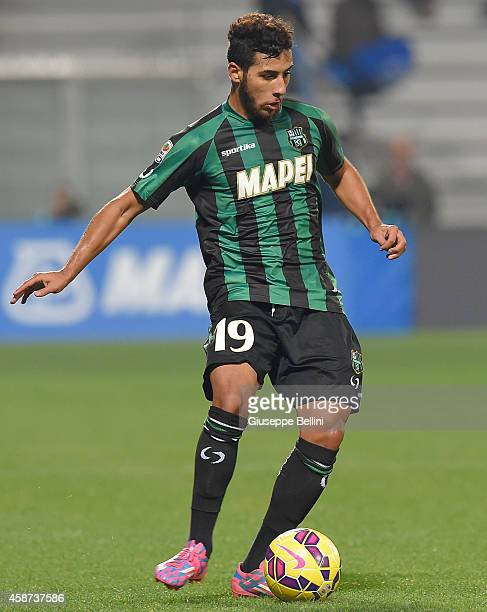 Saphir Taider of Sassuolo in action during the Serie A match between US Sassuolo Calcio and Atalanta BC at Mapei Stadium on November 8 2014 in Reggio...