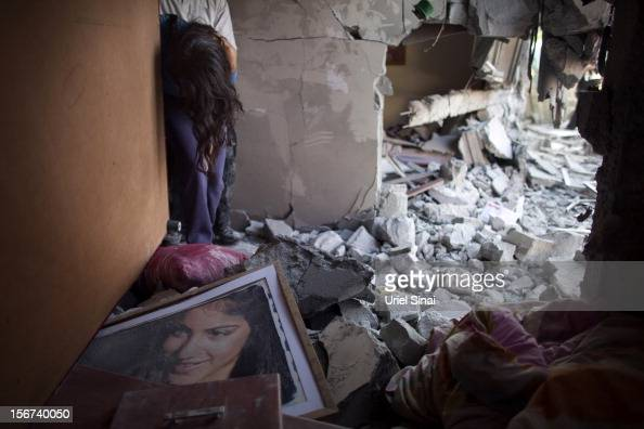 Sapir Hachmon reacts as she enters her room after it was hit by a rocket fired from the Gaza Strip on November 20 2012 in Beersheba Israel Hamas...