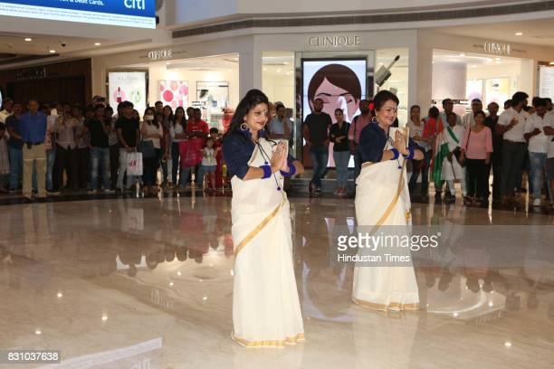 Sapna Khandelwal and Vandana Gupta during the Patriotic flash mob titled JashnEAzadi organised by a Delhibased NGO Devditi Foundation and social...