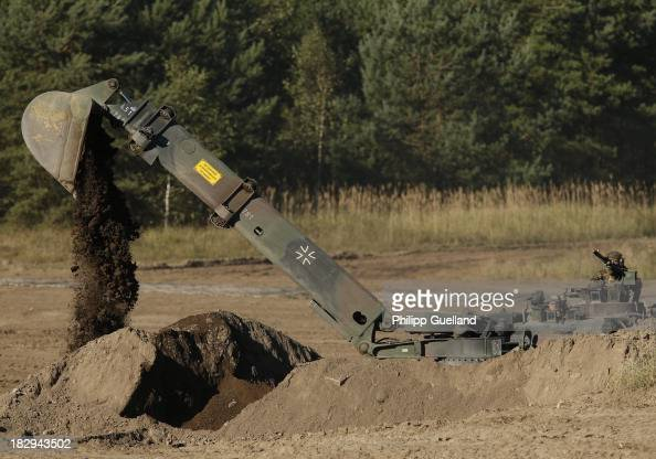 A sapper Tank Dachs is seen during the annual military exercises held for the media at the Bergen military training grounds on October 2 2013 near...