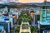 Cityscape of Sapporo, Hokkaido, Japan at Odori Park.