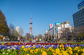 SAPPORO,JAPAN-April 25 2016 : Sapporo Tower surround around Odori park ,public place for people come to relax.