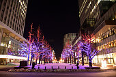 Sapporo with snowy landscaped with illumination
