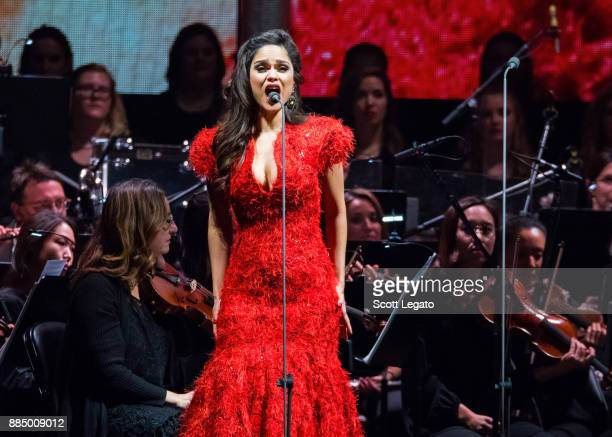 Saprano opera singer Larissa Martinez performs with the Detroit Symphony Orchestra at Little Caesars Arena on December 3 2017 in Detroit Michigan