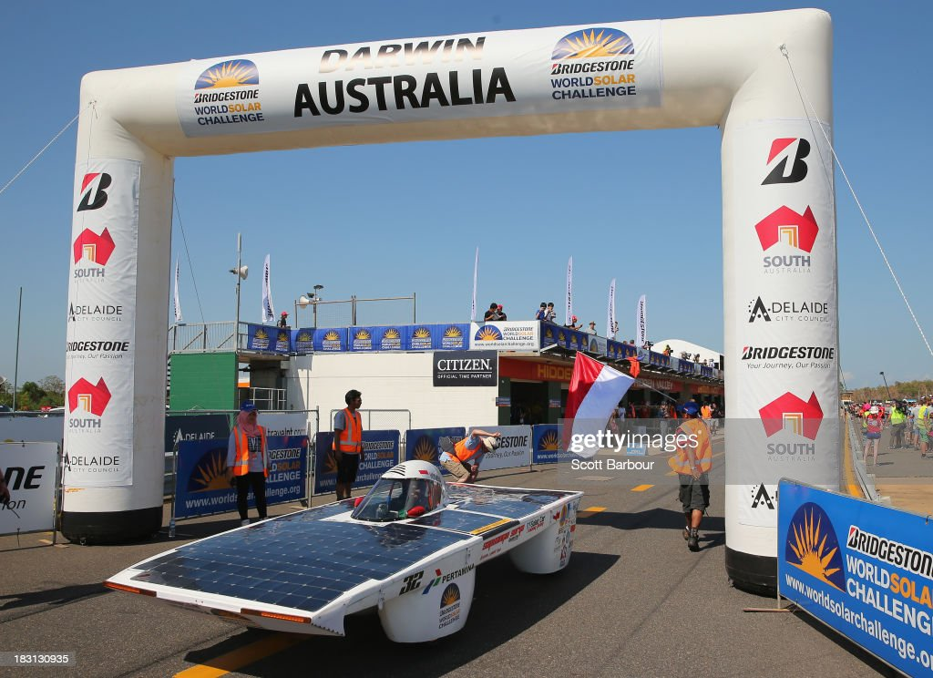 Sapu Angin Surya, from the ITS Solar Car Racing Team, Indonesia competes in the Clipsal and Schneider Electric Challenger Class during Dynamic Scrutineering in the Bridgestone World Solar Challenge at the Hidden Valley Motor Sports Complex on October 5, 2013 in Darwin, Australia. Over 25 teams from accross the globe will compete in the 2013 World Solar Challenge - a 3000 km solar-powered vehicle race between Darwin and Adelaide. The race begins on October 6th with the first car expected to cross the finish line on October 10th.