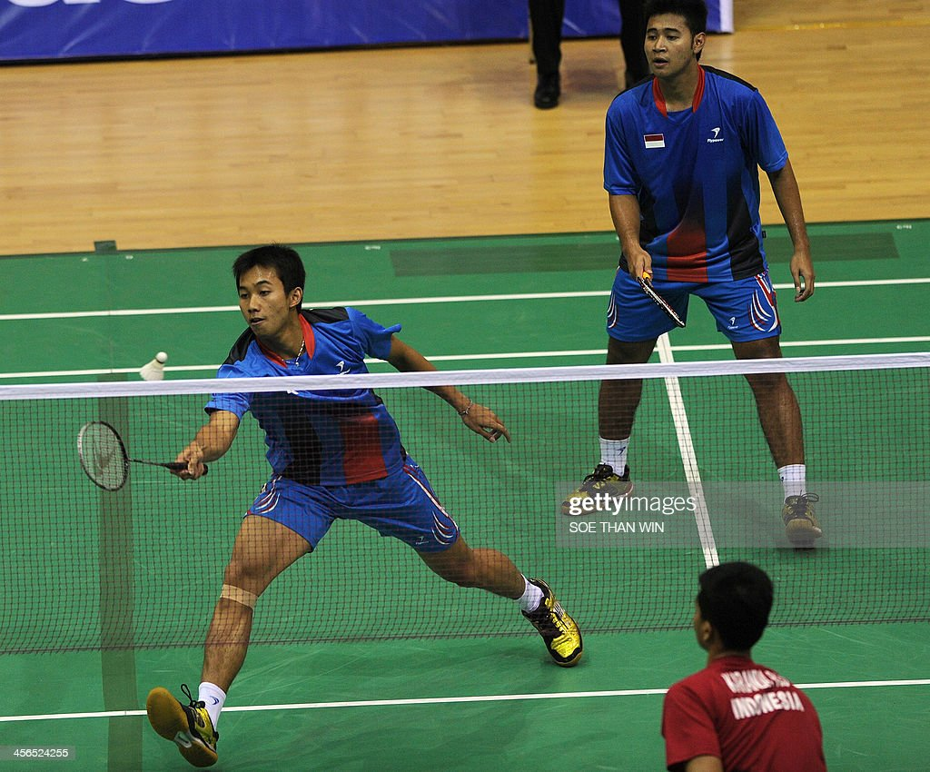 Saputro Ryan Agung L and Pratama Angga R of Indonesia return a