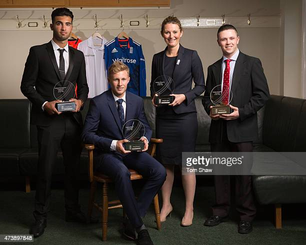 Saqib Mahmood the England Development Programme Cricketer of the Year award winner Joe Root the England Men's Cricketer of the Year Charlotte Edwards...