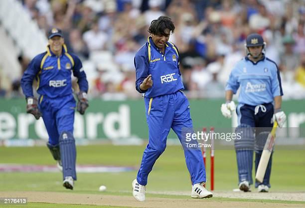 Saqlain Mushtaq of Surrey celebrates taking the wicket of Matt Windows of Gloucester during the Surrey v Gloucestershire semi finals of the Twenty20...