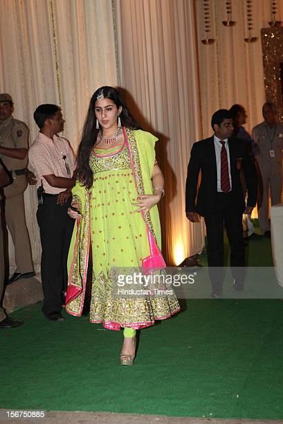 'NEW DELHI INDIA OCTOBER 18 Sara Ali Khan daughter of Saif ali Khan attending DawateWalima of his marriage with Kareena Kapoor at 31 Aurangzeb Road 3...