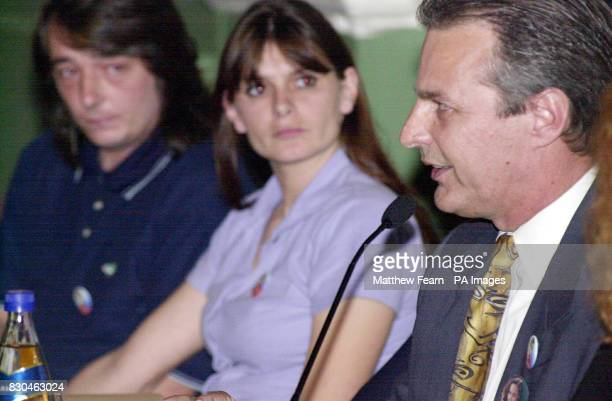 Sara and Michael Payne left listen to Marc Klauss at a fringe meeting calling for Sarah's Law during the Labour Party conference week held in Brighton