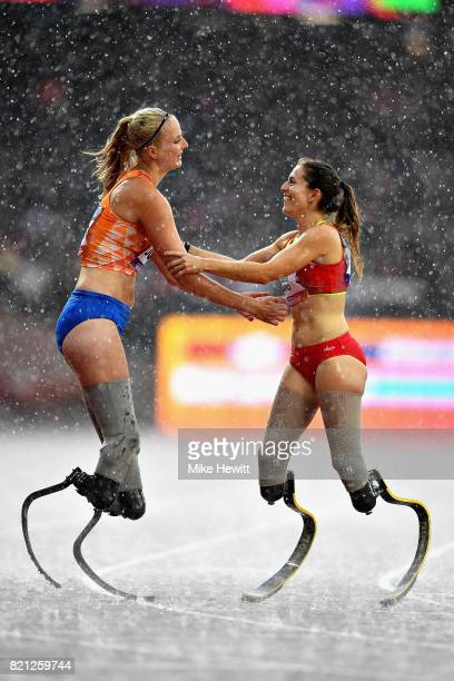 Sara Andres Barrio of Spain and Fleur Jong of Netherlands after competing in the Womens 200m T44 final during day ten of the IPC World ParaAthletics...