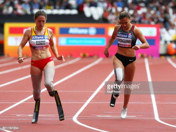 LR Sara Andres Barrio of Spain and Marissa Papaconstantinou of Canada competing Women's 200m T44 Round 1 Heat 2 during World Para Athletics...