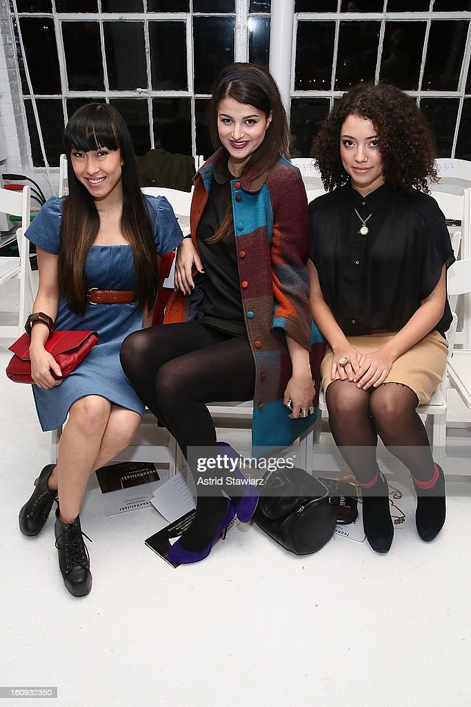 Sara Baiyu Chen, Lily Lane and Blaine Morris attend the Ivana Helsinki fall 2013 fashion show during Mercedes-Benz Fashion Week at Studio 450 on February 7, 2013 in New York City.