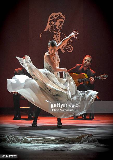 Sara Baras performs on stage during a press presentation for her latest production 'Voces' at the Tivoli theater on April 6 2016 in Barcelona Spain