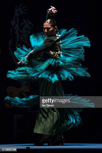 Sara Baras performs 'Voces Suite Flamenca' on stage at the Sadler's Wells Theatre on February 16 2016 in London England