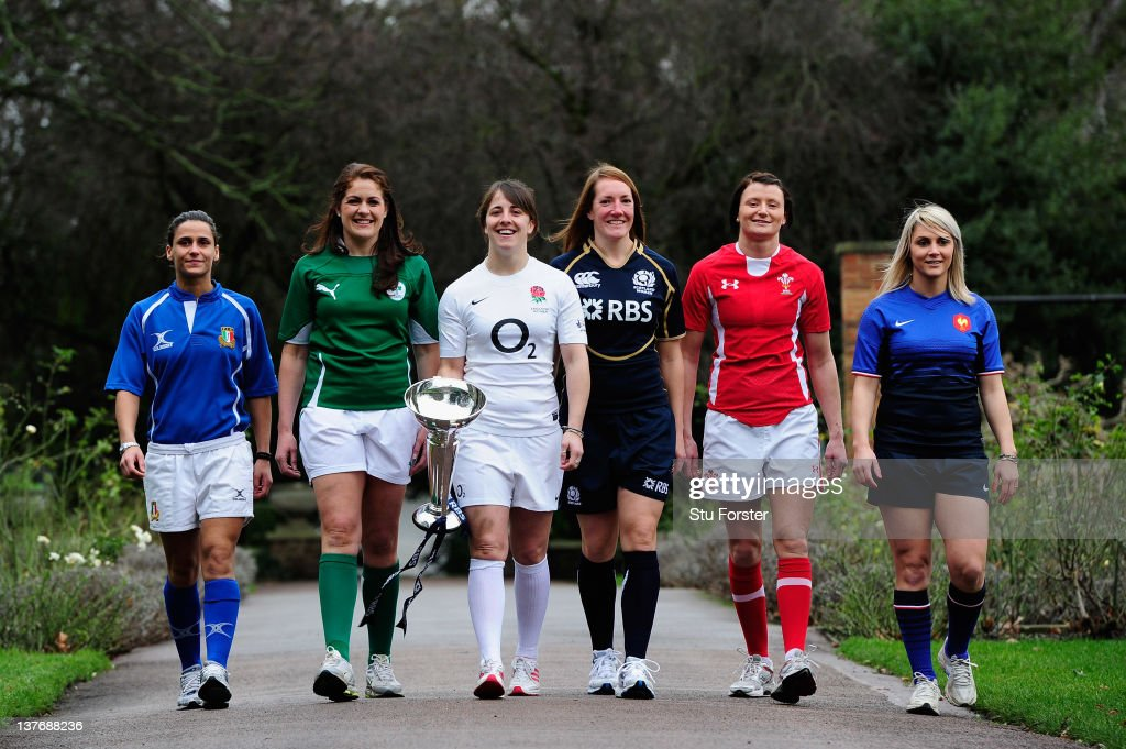 Sara Barattin of Italy, Fiona Coughlan of Ireland, Katie McLean of England, <a gi-track='captionPersonalityLinkClicked' href=/galleries/search?phrase=Susie+Brown&family=editorial&specificpeople=2628322 ng-click='$event.stopPropagation()'>Susie Brown</a> of Scotland, Rachel Taylor of Wales and Nathalie Amiel of France pose with the Women's Six Nations Trophy during the Six Nations Launch at The Hurlingham Club on January 25, 2012 in London, England.