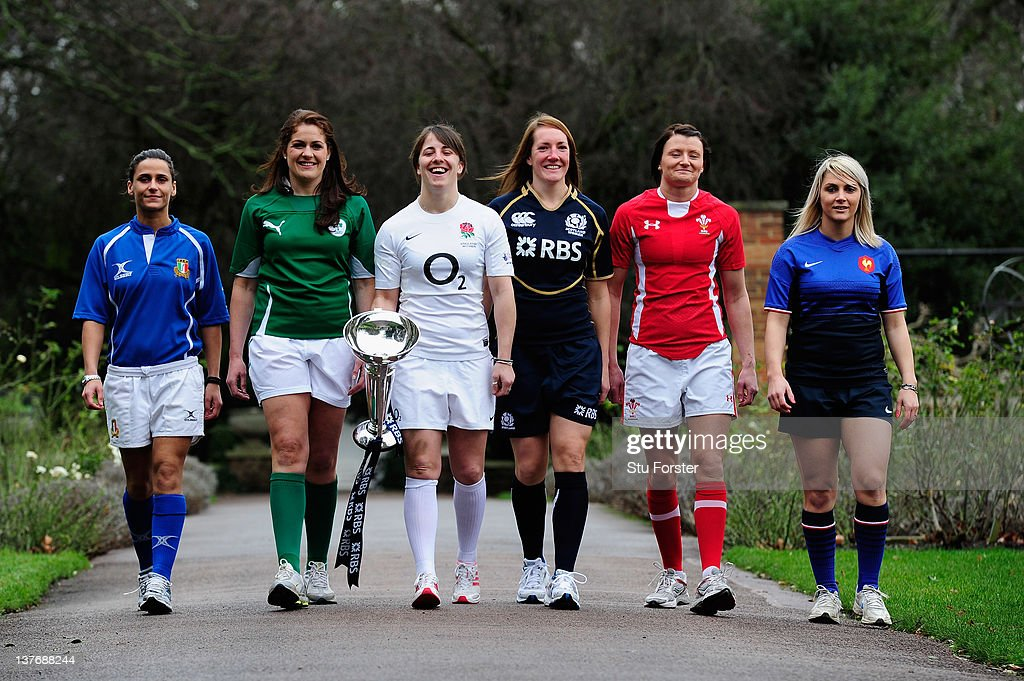 Sara Barattin of Italy, Fiona Coughlan of Ireland, Katie McLean of England, Susie Brown of Scotland, Rachel Taylor of Wales and Nathalie Amiel of France pose with the Women's Six Nations Trophy during the Six Nations Launch at The Hurlingham Club on January 25, 2012 in London, England.