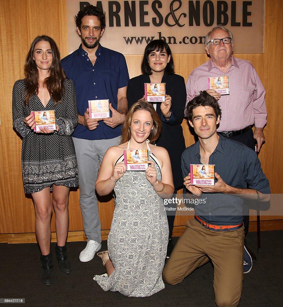 Sara Bareilles Nick Cordero Molly Hager Jessie Mueller Drew Gehling and Dakin Matthews attend the cast of 'Waitress' CD Signing of the Original...