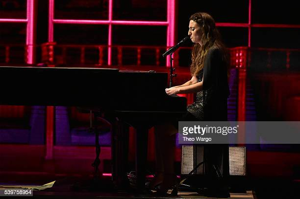 Sara Bareilles performs a song from 'Waitress' perform onstage during the 70th Annual Tony Awards at The Beacon Theatre on June 12 2016 in New York...