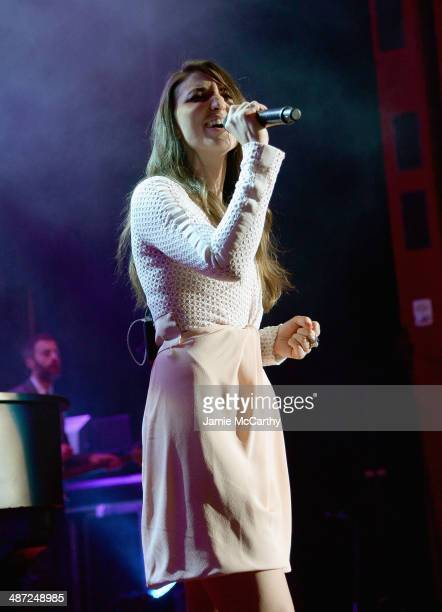 Sara Bareilles performs onstage at The Breast Cancer Foundation's 2014 Hot Pink Party at Waldorf Astoria Hotel on April 28 2014 in New York City