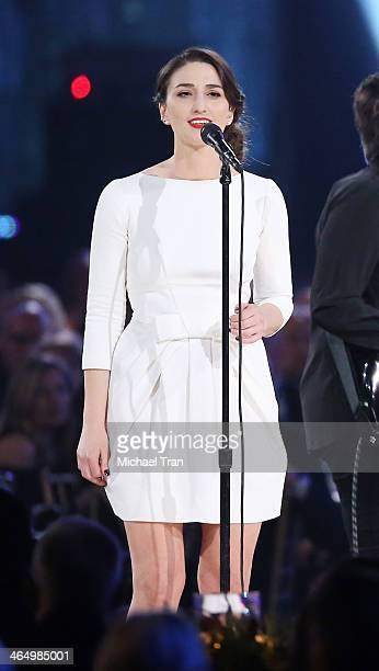 Sara Bareilles performs onstage during the 2014 MusiCares Person of the Year honoring Carole King held at Los Angeles Convention Center on January 24...