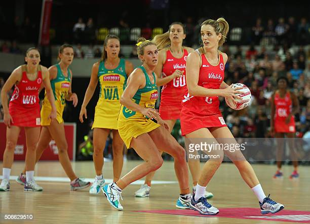 Sara Bayman of England in action during the third International Netball Series match between England and Australia at the Copper Box Arena on January...