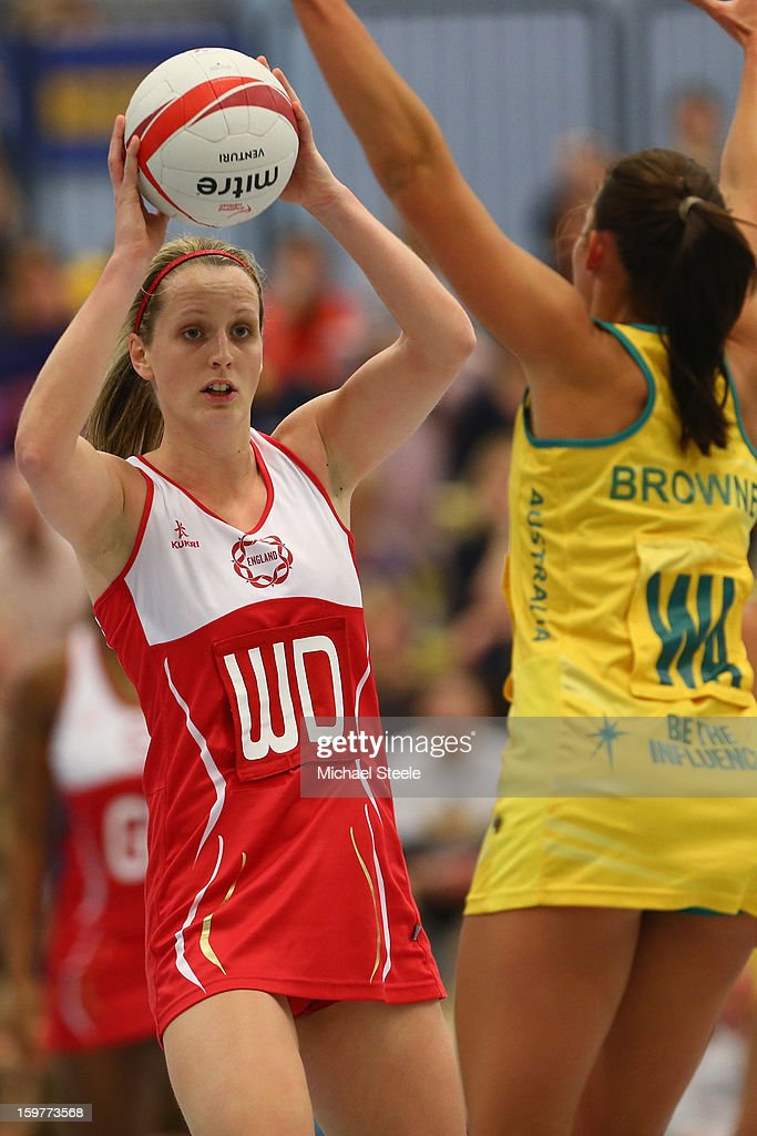 Sara Bayman (L) of England looks to pass during the England v Australia International Netball Series match at the University of Bath on January 20, 2013 in Bath, England.