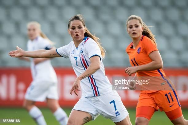 Sara Bjork Gunnarsdottir of Iceland Lieke Martens of The Netherlandsduring the friendly match between the women of Netherlands and Iceland at the...