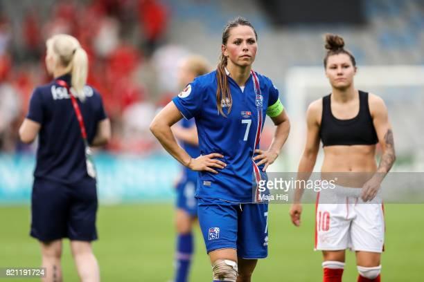 Sara Bjork Gunnarsdottir of Iceland reacts after the UEFA Women's Euro 2017 Group C match between Iceland and Switzerland at Stadion De Vijverberg on...