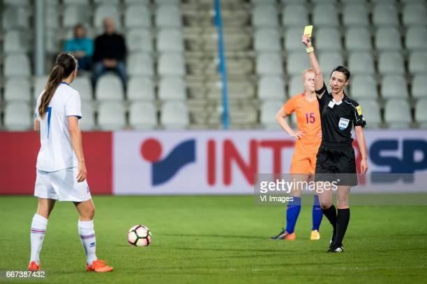 Sara Bjork Gunnarsdottir of Iceland referee Tina Tytecaduring the friendly match between the women of Netherlands and Iceland at the Vijverberg...