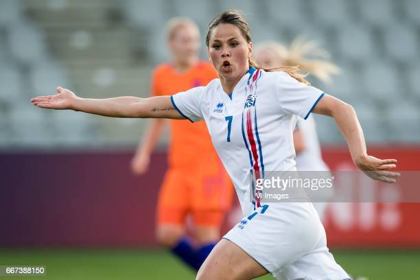 Sara Bjork Gunnarsdottir of Icelandduring the friendly match between the women of Netherlands and Iceland at the Vijverberg stadium on April 11 2017...