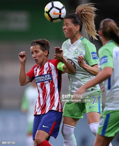 Sara Bjork Gunnarsdottir of Wolfsburg and Sonia of Madrid vie during the UEFA Women Champions League Round of 32 second leg match between VFL...