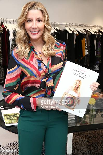 Sara Blakely and Alice Olivia celebrate the launch of 'The Belly Art Project' on October 10 2016 in New York City