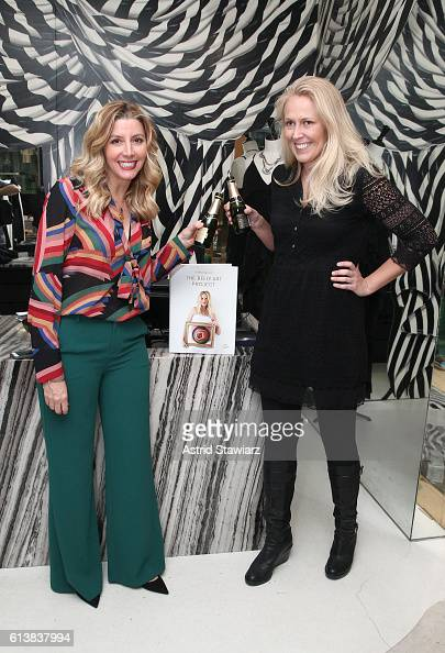 Sara Blakely and Chelsea McMillan attend as Sara Blakely and Alice Olivia celebrate the launch of 'The Belly Art Project' on October 10 2016 in New...