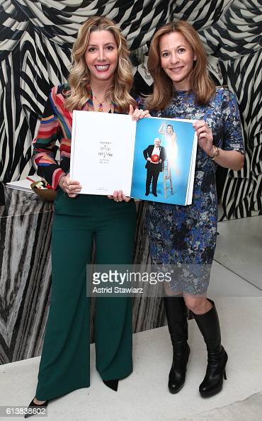 Sara Blakely and Gillian Zoe Segal pose for a photo together as Blakely and Alice Olivia celebrate the launch of 'The Belly Art Project' on October...