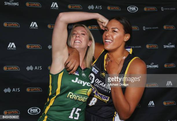 Sara Blicavs Dandenong Rangers and Liz Cambage Melbourne Boomers pose during the NRL Qualifying Final match between the Melbourne Storm and the...