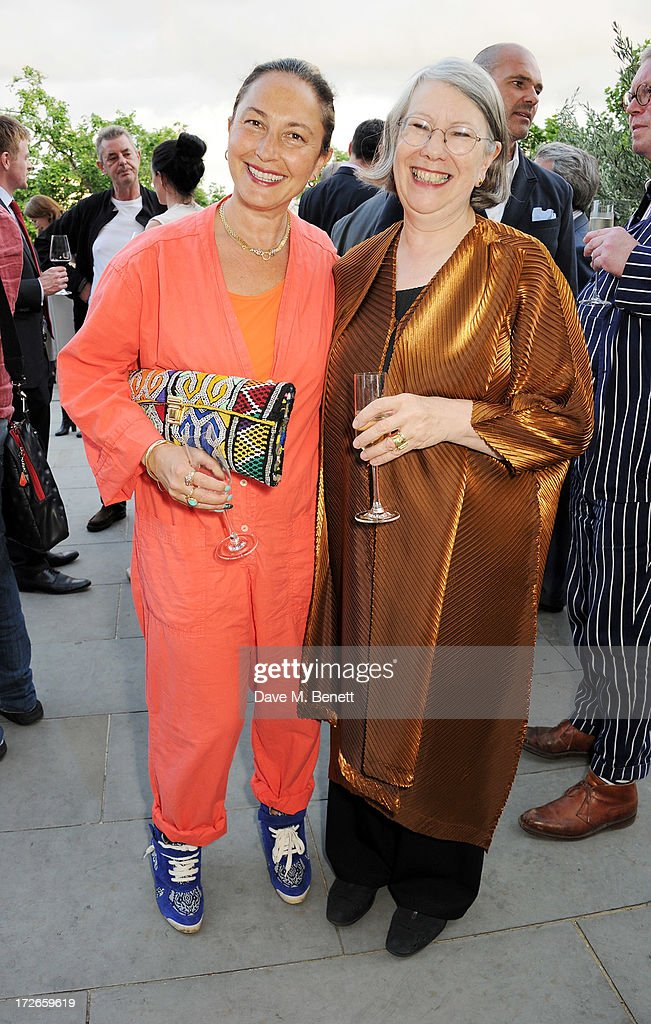 Sara Blonstein(L) and Director of Somerset House Trust Gwyn Miles attend the private view of 'elBulli: Ferran Adria and The Art of Food' at Somerset House on July 4, 2013 in London, England. The exhibition, in partnership with Estrella Damm, opens on July 5th and runs until September 29th 2013.