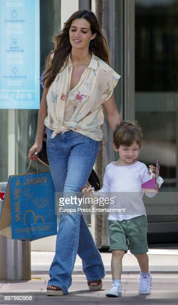 Part of this image has been pixellated to obscure the identity of the child Sara Carbonero and her son Martin Casillas are seen on May 24 2017 in...