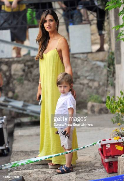 Part of this image has been pixellated to obscure the identity of the child Sara Carbonero and son Martin Casillas are seen on June 17 2017 in...