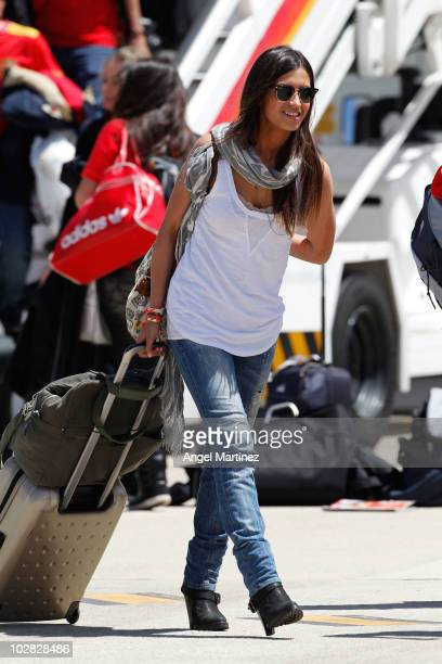 Sara Carbonero girlfriend of Spanish team captain Iker Casillas arrival at Barajas Airport on July 12 2010 in Madrid Spain Carbonero was travelling...