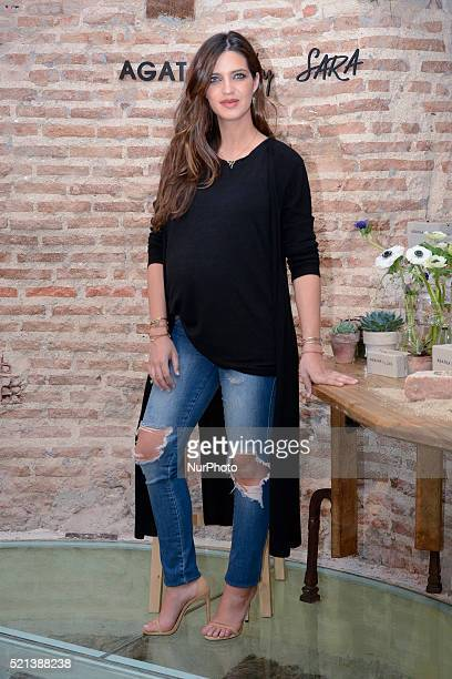 Sara Carbonero presents 'Agatha by Sara' new collection at Santa Eulalia Bakery on April 14 2016 in Madrid Spain