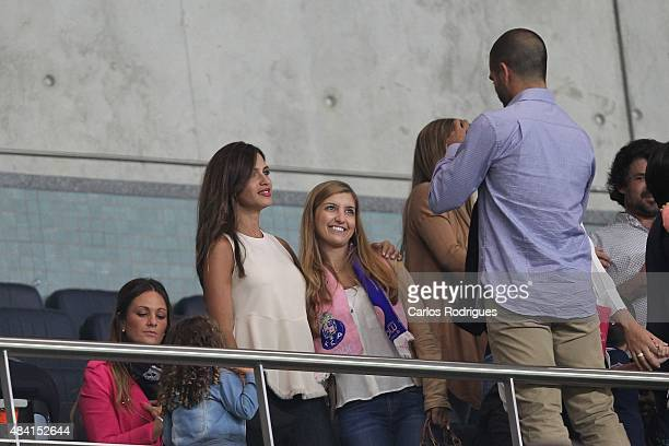 Sara Carbonero wife of Porto's goalkeeper Iker Casillas with Porto«s supporters in the stands during the match between FC Porto and Vitoria Guimaraes...