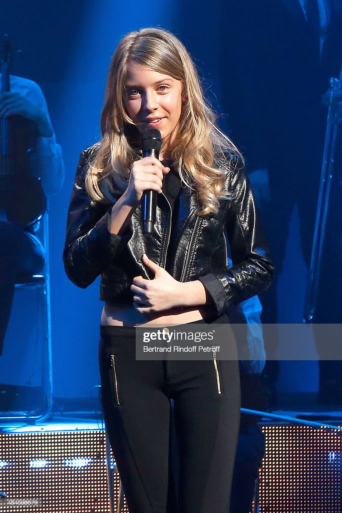 Sara Carreira performs whyle her father, Singer Tony Carreira's concert at Palais des Sports on April 12, 2014 in Paris, France.