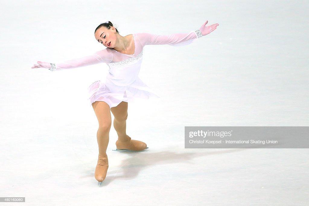 Sara Casella of Italy skates during the junior ladies free skating of the ISU Junior Grand Prix at Dom Sportova on October 10 2015 in Zagreb Croatia