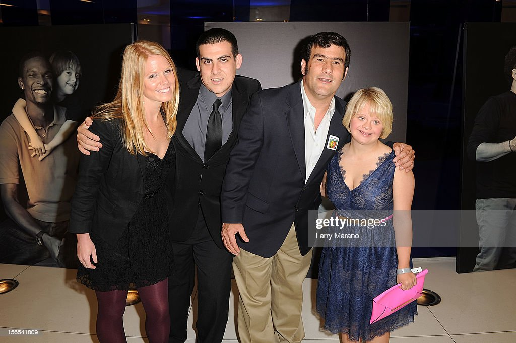Sara Columbo poses with Buddies Dan Houston, Jorge Morilla and actress Lauren Potter at the Zenith Watches Best Buddies Miami Gala at Marlins Park on November 16, 2012 in Miami, Florida.