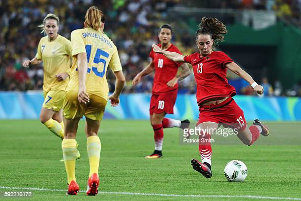 Sara Dabritz of Germany shoots on goal during the Women's Olympic Gold Medal match between Sweden and Germany at Maracana Stadium on August 19 2016...