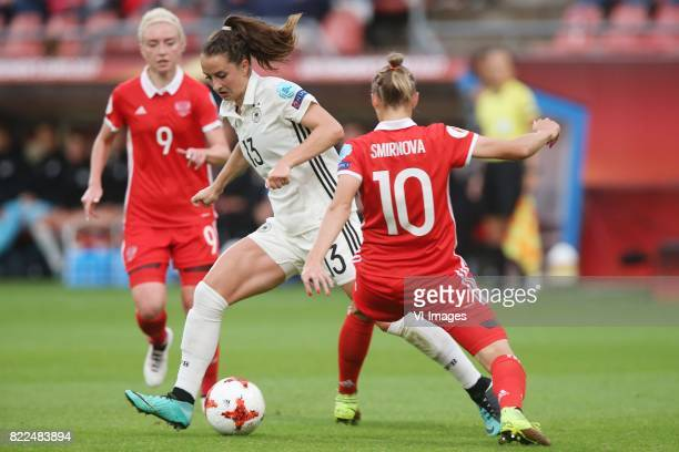 Sara Dabritz of Germany women Nadezhda Smirnova of Russia women during the UEFA WEURO 2017 Group B group stage match between Russia and Germany at...