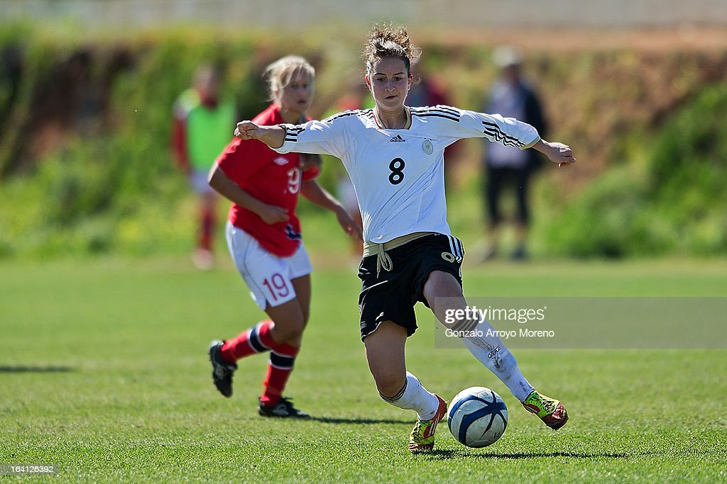 Sara Dabritz (R) of U19 Germany controls the ball during the Women's U19 Tournament match between U19 Norway and U19 Germany at La Manga Club ground G on March 11, 2013 in La Manga, Spain.