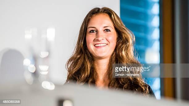Sara Daebritz attends the Allianz Women's Bundesliga season opening press conference at DFB Headquarters on August 24 2015 in Frankfurt am Main...